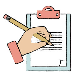 hand human with pencil writing in clipboard vector image