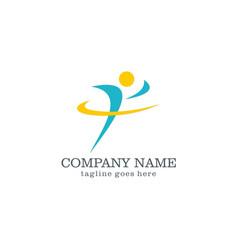 run people logo design vector image