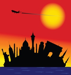 famous monument color silhouette vector image