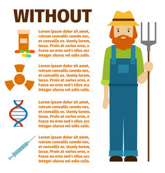 farmer character man infographic agriculture vector image