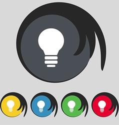 Light lamp Idea icon sign Symbol on five colored vector image