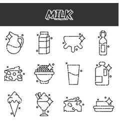 milk production cartoon concept icons vector image vector image