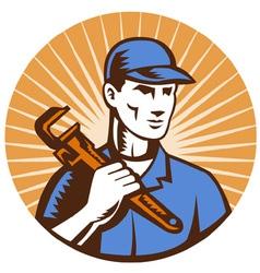 plumber holding monkey wrench vector image