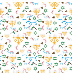 purim holiday background with festive symbols vector image