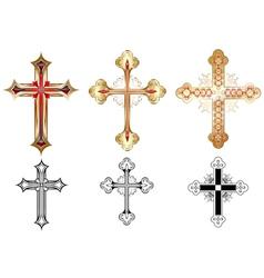 three gold cross vector image vector image
