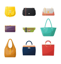 women or woman girl and lady fashion bag icons vector image