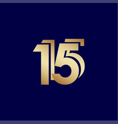 15 years anniversary celebration blue gold vector