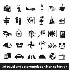 30 travel and accommodation icon collection vector