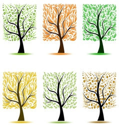 Abstract art trees collection on white background vector
