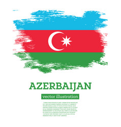 azerbaijan flag with brush strokes independence vector image