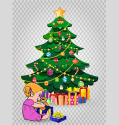 baby girl open gift near decorated christmas fir vector image