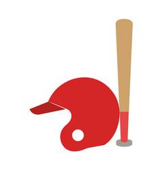 baseball bat and helmet equipment isolated icon vector image