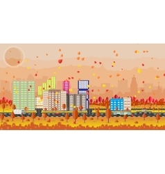 Beautiful autumn city with park alley vector