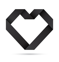 Black heart origami vector image