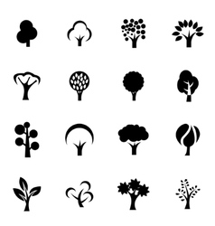 Black trees icon set vector