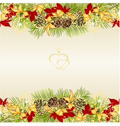 border christmas decoration with pine cones vector image