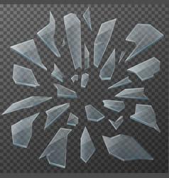 Broken glass shards realistic transparent pieces vector