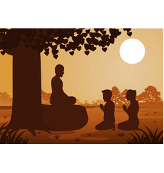 Buddhist couple pay respect to monk politely with vector
