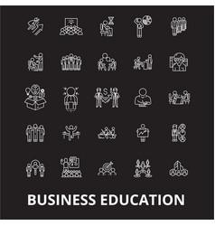 Business education editable line icons set vector