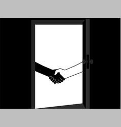 business handshake behind door contract vector image