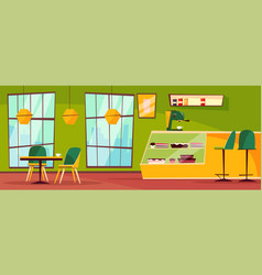 Cafe or cafeteria interior cartoon vector