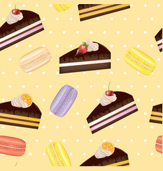 cake and macarons seamless pattern vector image