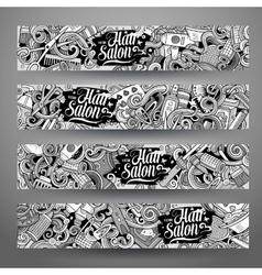 Cartoon doodles Hair salon banners vector image