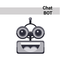 Cartoon robot face smiling cute emotion open mouth vector