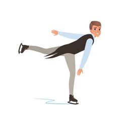 Cheerful figure skater man skating male athlete vector
