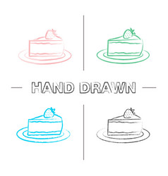 Cheesecake with strawberry hand drawn icons set vector