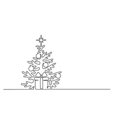 Christmas pine fir tree continuous one line vector