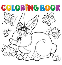 Coloring book rabbit topic 3 vector