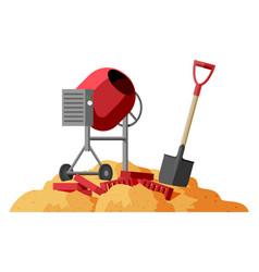 Concrete mixer shovel and bricks in pile sand vector