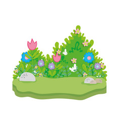 Cute fairytale landscape scene vector