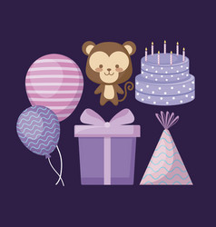 cute monkey and set icons party vector image