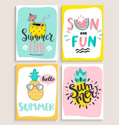 Cute set of 4 bright summer cards vector