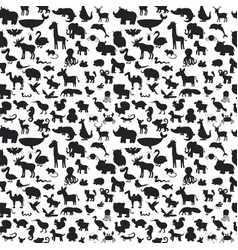 Different animals silhouettes seamless pattern vector