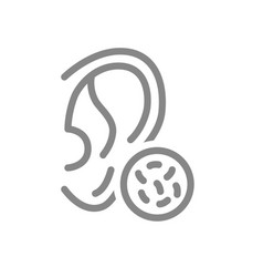 Ear with bacteria line icon disease hearing organ vector
