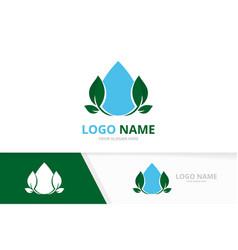 eco water logo combination clean droplet vector image