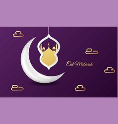 eid mubarok islamic greeting card background vector image