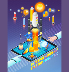 Entrepreneurship activity isometric composition vector