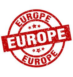 europe red round grunge stamp vector image