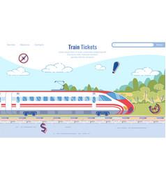 Flat banner inscription train tickets cartoon vector