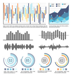 flowcharts and infographics with data visual info vector image