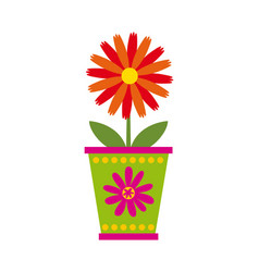 Flower in a pot icon vector