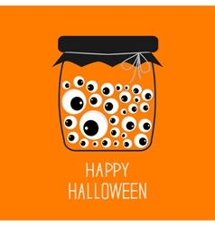 Glass bottle jar with eyeballs Halloween card vector image