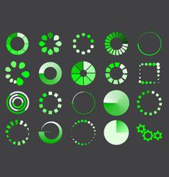 green loading sign icon set for internet upload vector image