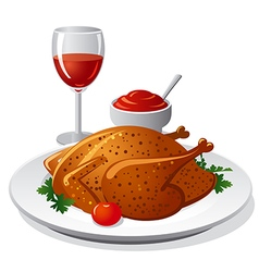 Grilled chicken and wine vector