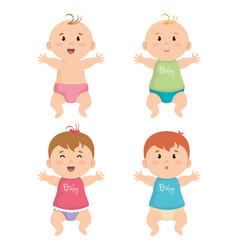 Group of litttle babys vector