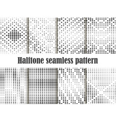 halftone seamless pattern set dotted backdrop vector image